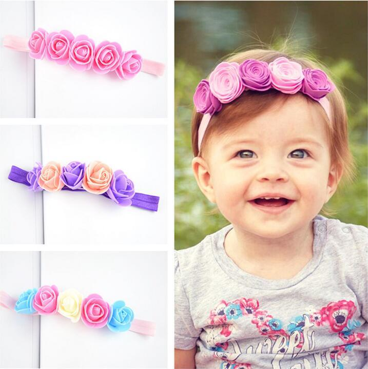 930905e1085 Newborn Headband Flower Headband Felt Rose Flower Elastic Hairbands Rainbow  Headwear Hair Accessories For Girls Kids Hair Accessories For Flower Girl  Silver ...