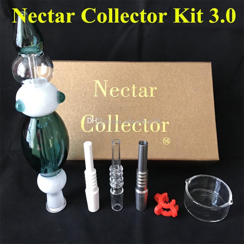 Nectar Collector 3.0 Kit Domeless quarzo Nail 14mm Nectar Collector piattaforme petrolifere bicchiere d'acqua tubi di 3 tipi di unghie