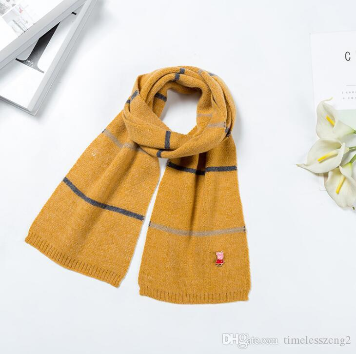 Winter Warm Children Scarf With A Delicate Cartoon Figure Kids Scarves Soft Stripe Neckerchief Gift Multicolor