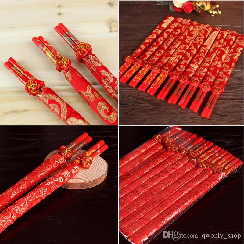 Classic Design Wood Chinese Red Chopsticks Double Happiness And Dragon Wedding Party Favor Chopsticks Favor With Gift Bag 10pcs/lot