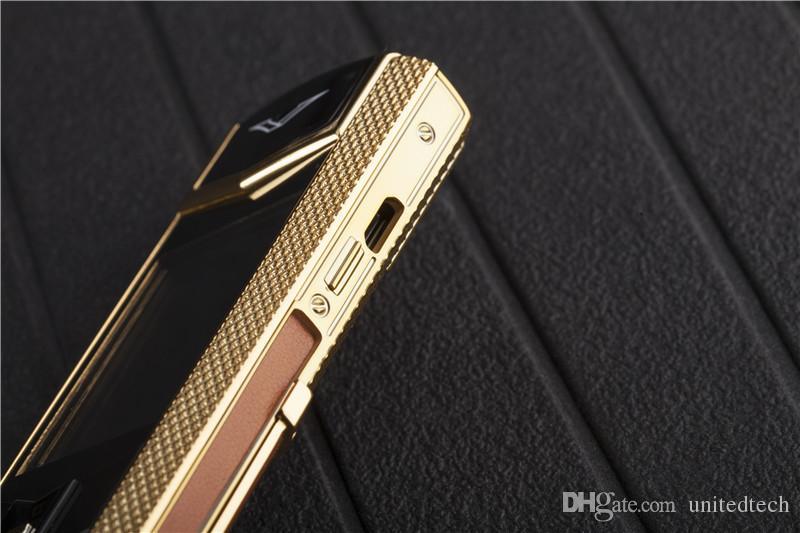 Desbloqueado Luxo Ouro Assinatura 8800 Móvel telefone celular de aço inoxidável MP3 Câmera bluetooth metal celular Com tampa livre