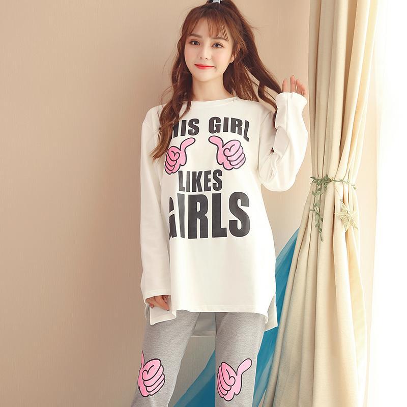 616dd0aca Compre Conjuntos De Pijama Sueltos Ocasionales Del Algodón Del 100% Para  Las Mujeres Pijamas De Manga Larga Del Invierno 2018 Pijama Pijama Desgaste  Ropa ...