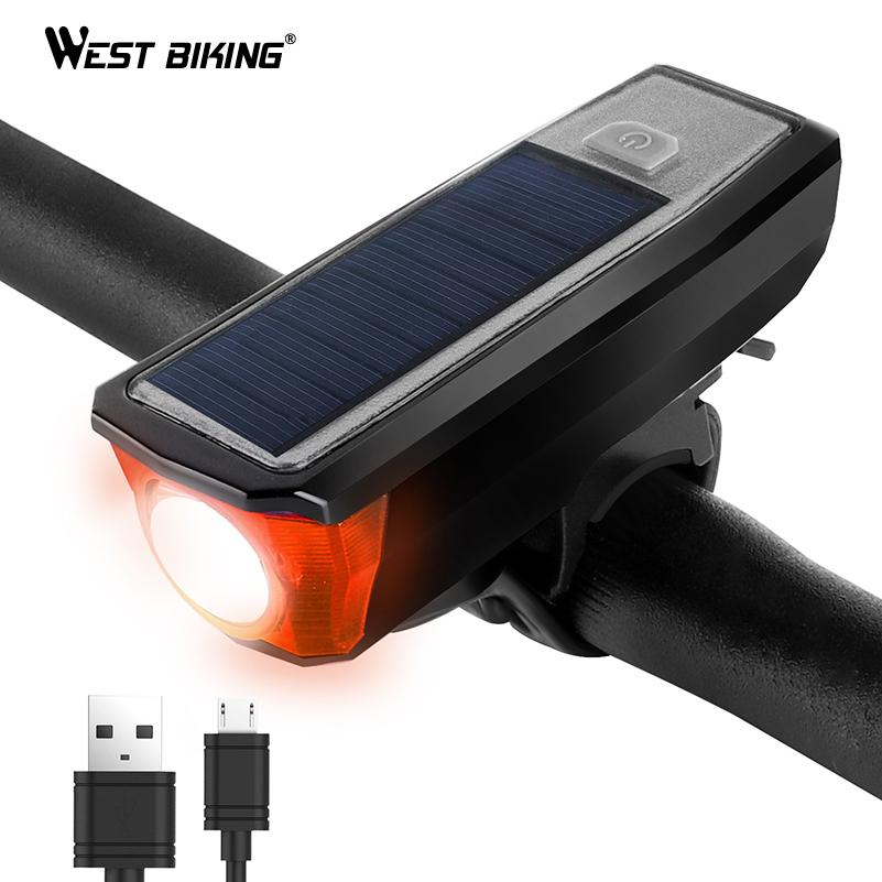 WEST BIKING 350 Lumens Bicycle Front Light Solar Powered With Bell Flashlight Waterproof USB Rechargeable Torch Bike Headlight Y1892709