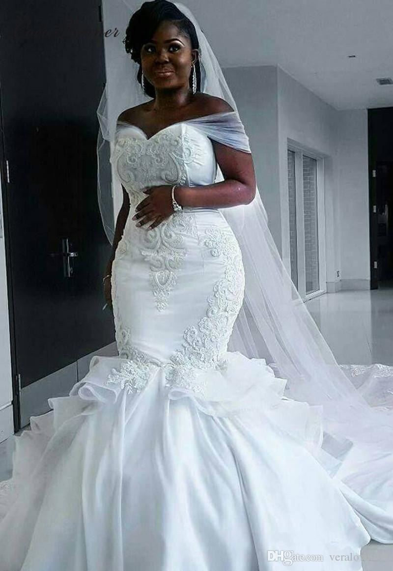 Africa Satin Mermaid Wedding Dresses Lace Appliques Lace Up Back ...