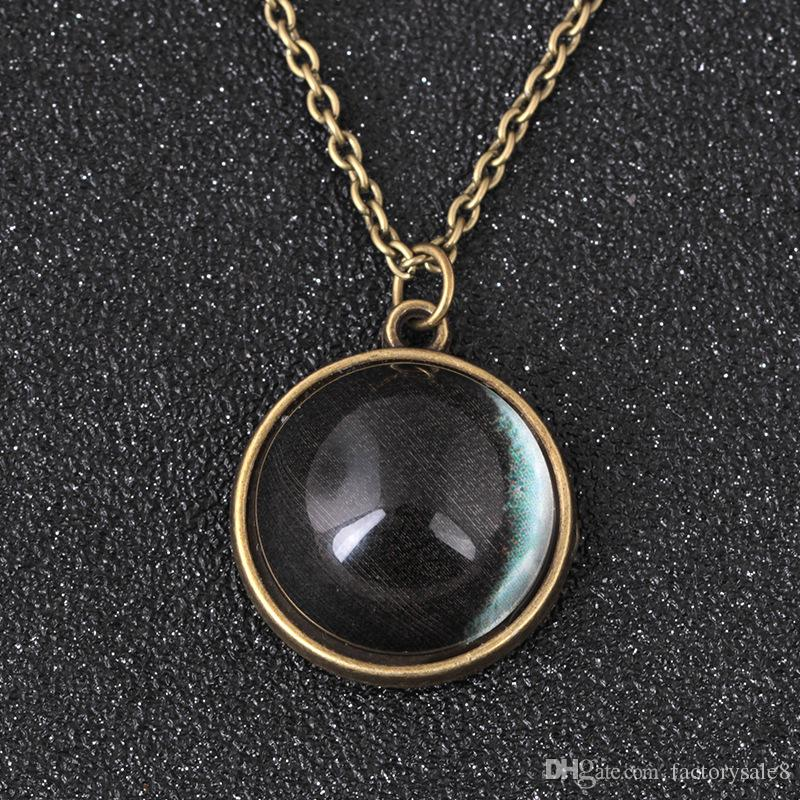 Hand made antique double - side glass ball, time gem, night light moon pendant necklace, fantasy star light item jewelry, .