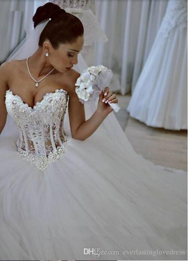 Tulle Princess Vestido nupcial Sparkly Tulle Puffy Falda Corsé Vestido de novia con Beading Sweetheart Robe de Mariee Bustier
