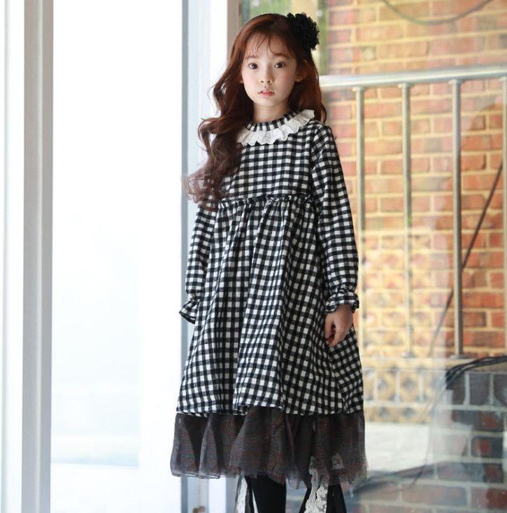 19ce185c65c7 Kids Plaid Splicing Lace Tulle Dress Girls Lace Embroidery Falbala ...