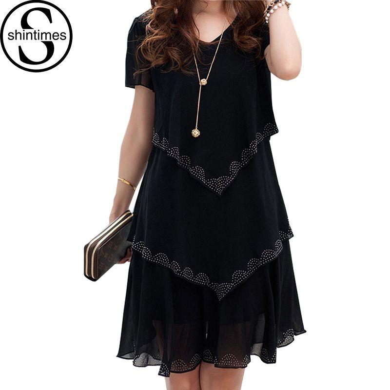 52c8da0ed7a 5xl Plus Size Women Clothing Chiffon Dress Summer Dresses Party Short  Sleeve Casual Vestido De Festa Blue Black Robe Femme White Dress For Sale  Formal ...