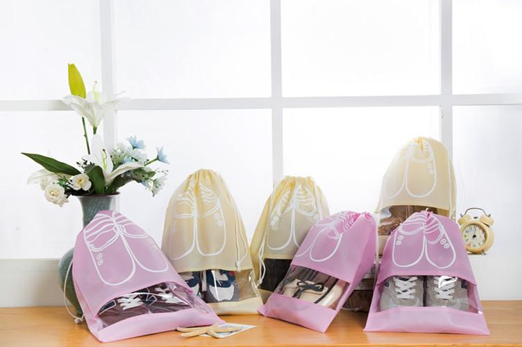 3Size Waterproof Shoes Bag Pouch Storage Travel Bag Portable Tote Drawstring Bag Organizer Cover Non-Woven Laundry Organizador