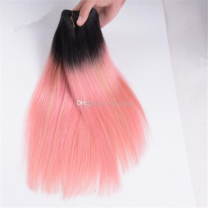 Черные корни 1b / розовое закрытие Ombre прямое с пачками 1b розовое золото Ombre индийские утки человеческих волос и верхнее закрытие