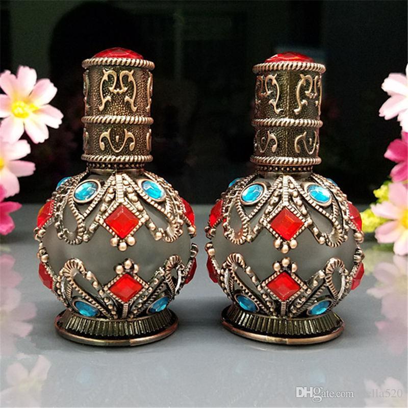 1 adet 10 ml yüksek kalite arap parfüm için luxe Vintage Cam Damlalık Şişe parfüm, mini damlalık şişeleri, Bronz vintage parfüm şişeleri