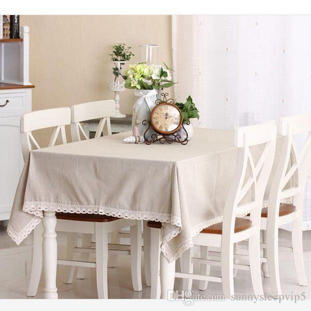 Korean Style Solid Color Lace Linen Table Cloth Multifunctional Tablecloths Table Cover Home Decor Free Shipping ZB-15