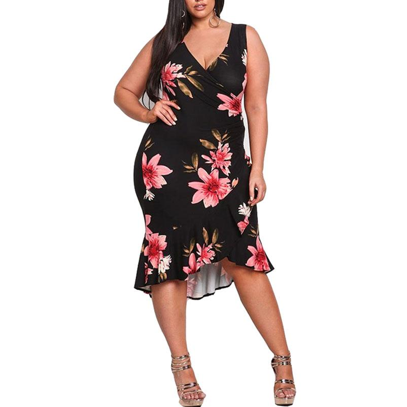 e52f5f4b993 4XL Plus Size Dresses 2018 Party Spring Summer Ruffles Sheath Dress Sexy V  Neck Sleeveless Tall Women Sundress Black Vestidos Womens Knit Dress Summer  Dress ...