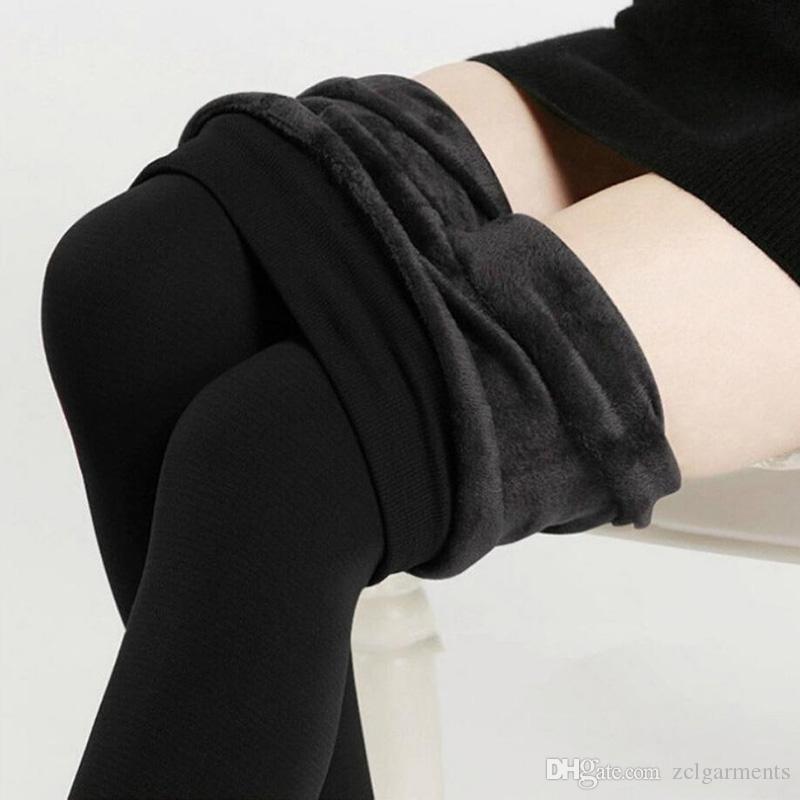 aa9dfd169b563e High Elastic Waist Winter Plus Velvet Thicken Women's Warm Pants Warm Super  Elastic Faux Velvet Winter Thick Slim Leggings