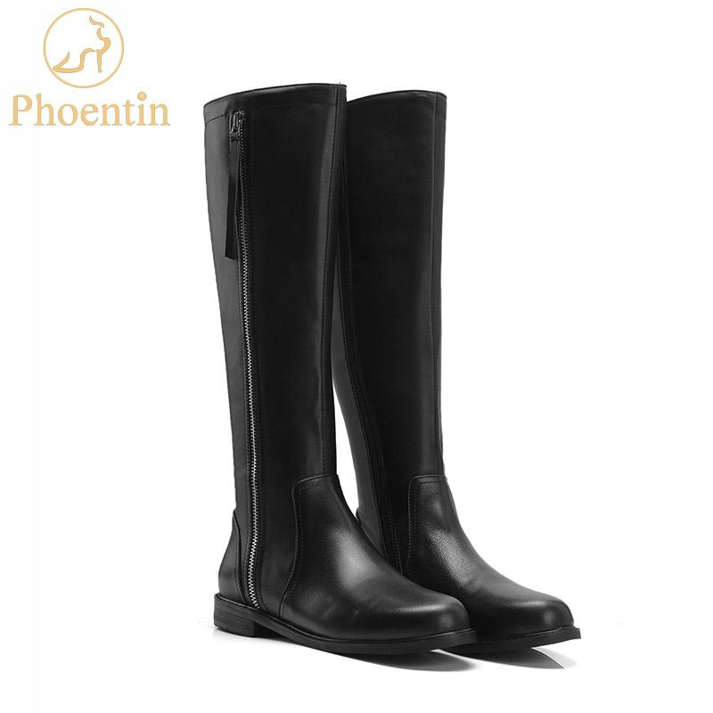 e9d8e0d777962 Phoentin Black Zipper Leather Riding Boots Knee High 2019 Flat Long Booties  Female Equestrian Horse Boots Round Toe Shoes FT560 Chelsea Boot Mens  Chelsea ...