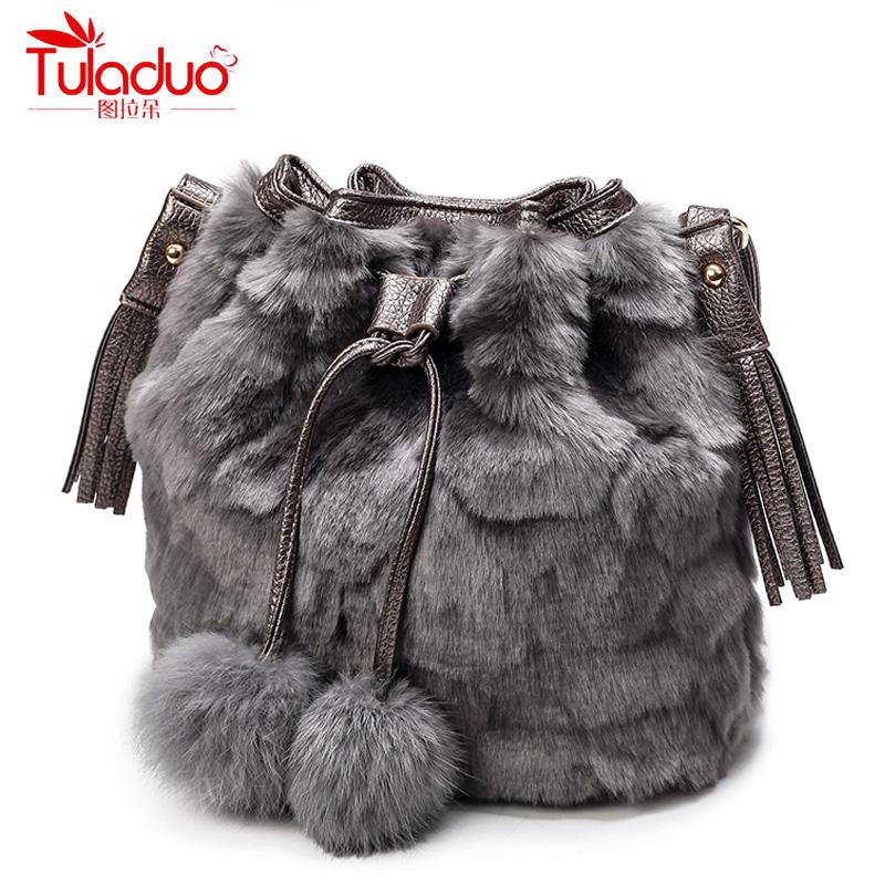 2c100ec8633a 2018 Fashion Faux Fur Women Shoulder Bags High Quality Bucket Bags ...