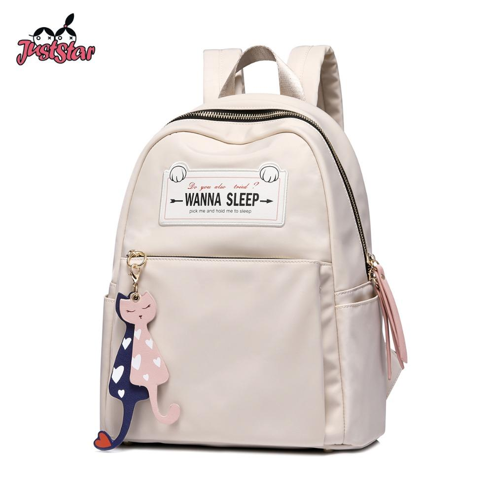 70da70d537 Just Star Women s Nylon Backpack Ladies Fashion Double Shoulder Bags Female  Cartoon Cat Tassel Student School Travel Rucksack