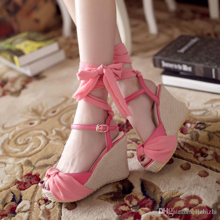 4962c900aa4 2018 Summer New Korean Princess Sweet Ribbon Pink Lady Shoes.Women S Shoes  With High Heels And Fish Mouths.Sexy Lady S SandalsF001 White Wedges Cheap  Shoes ...