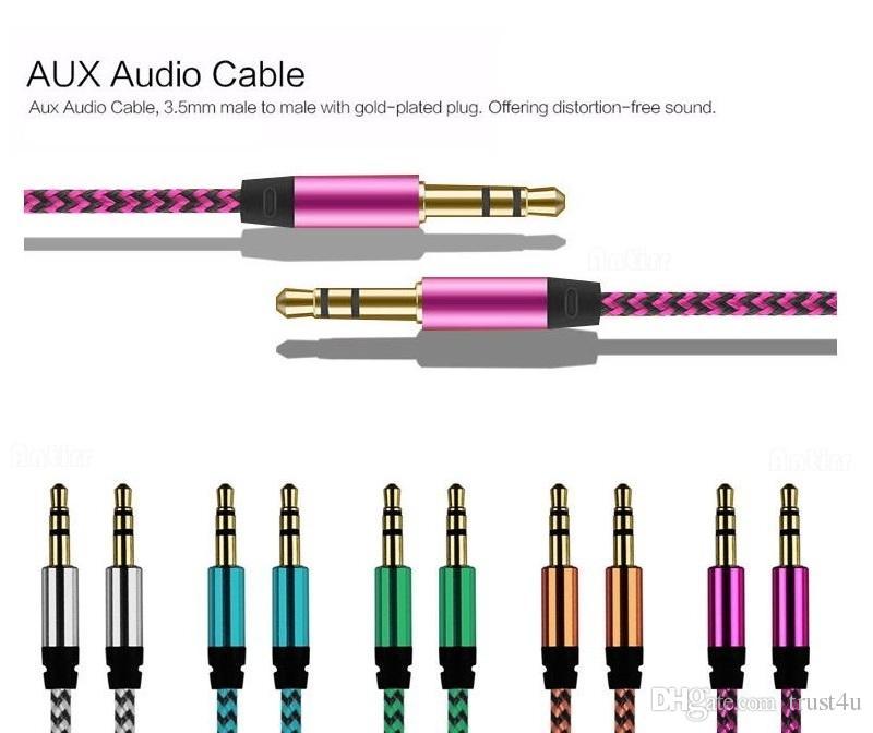 1M / 3FT starkes buntes geflochtenes Gewebe 3,5 Millimeter-Stereolithographie-Stecker zum erstklassigen Gold überzogenes Audiokabel AUX zusätzliches Kabel für MP3-Auto PC iPod
