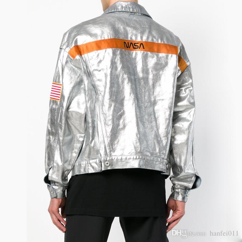 94f7eeea0d1 18FW Heron Preston X NASA Silver Denim Jacket Fashion Street Hip Hop Fashion  Loose Casual Men Women Couple Jacket HFLSJK218 Men Outerwear Sale Jackets  From ...