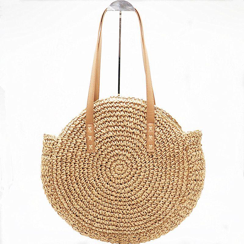 купить оптом ручной ротанга тканые круглые сумки мода соломы мешок