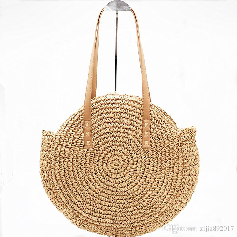 Handmade Rattan Woven Round Handbag Fashion Straw Bag Rope Knitted Shoulder  Bag Summer Beach Tote E44 Handmade Rattan Woven Round Handbag Fashion Straw  Bag ... 71eebacabddf4