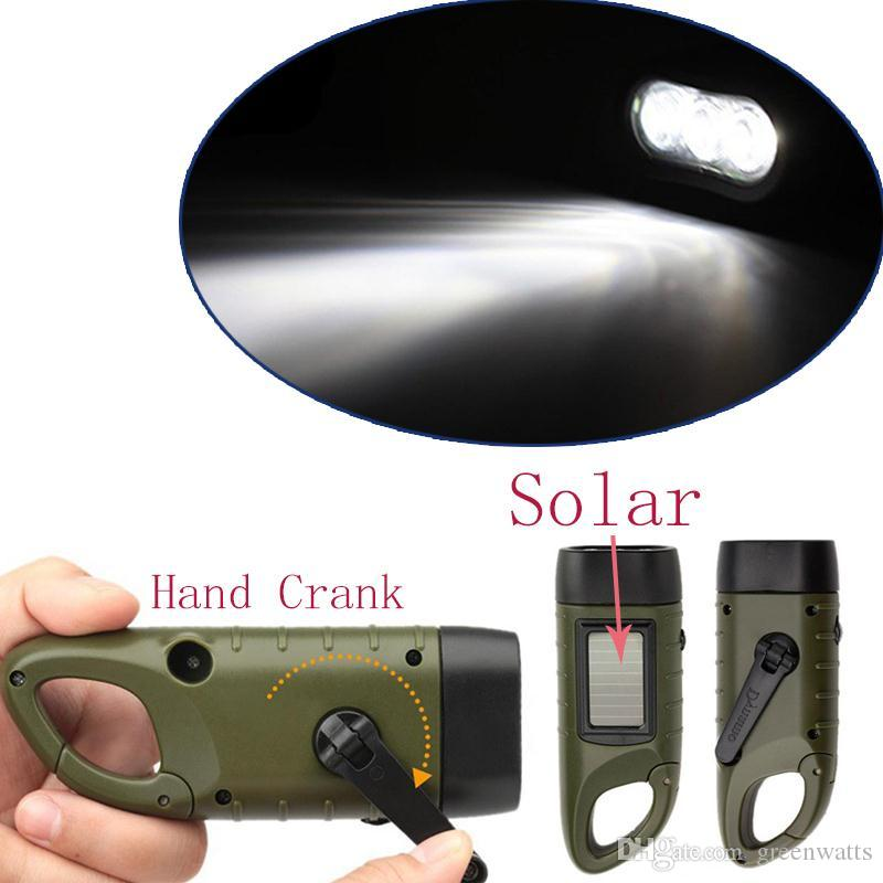 Hand Crank Dynamo flashlight Traditional Design Portable LED Hand Crank Dynamo Solar Power Flashlight Torch for Outdoor Camping