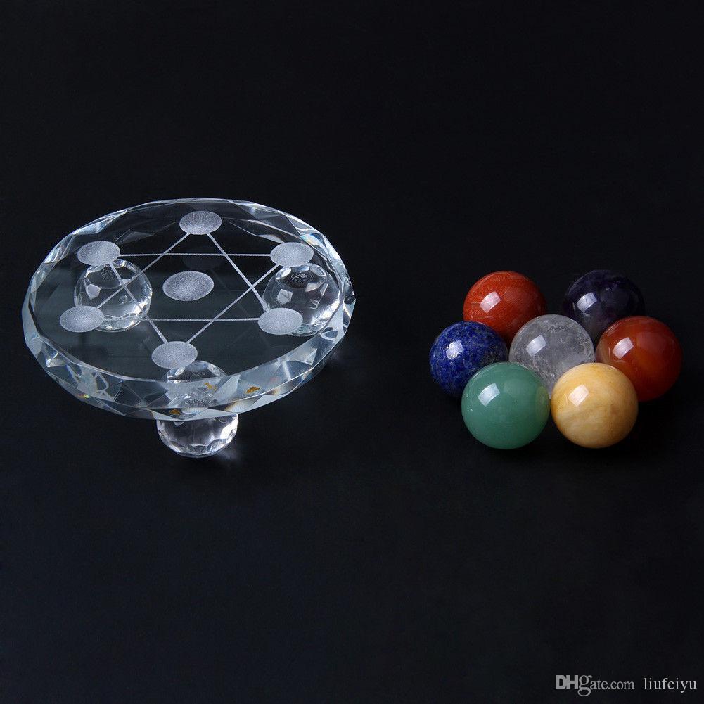 Natural 7 unids bola de cristal Chakra cuarzo esfera curativa joya de piedra granos Fengshui decoración de vidrio soporte
