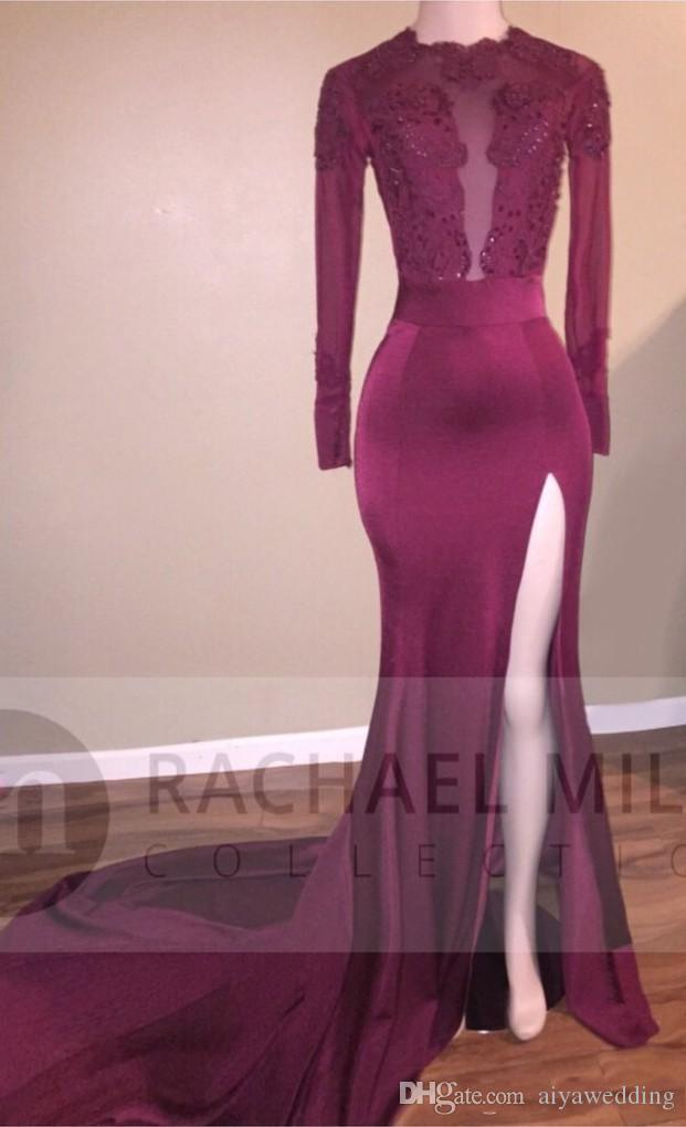 African Evening Dresses 2019 Long Custom Sheer Long Sleeve Backless Lace Satin Mermaid Black Girls Burgundy Evening Dress