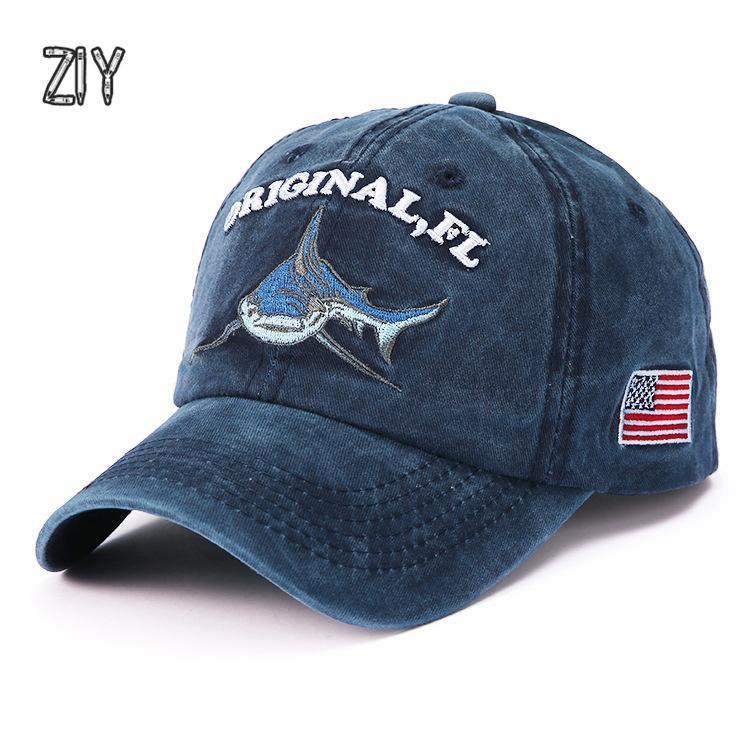 7f8b8b7136c Cotton Washed Casquette Baseball Caps Snapback Bone Animal Shark USA Flag  Embroidery Dad Hat Trucker Brand Vintage Modis Cap Design Your Own Hat Make  Your ...
