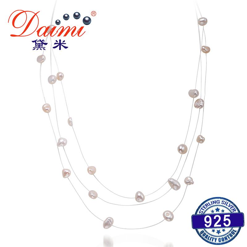 82554e90ed78c DAIMI Triple Strand Pearl Necklace 45cm Choker Necklace for Woman Dress  Simple Style Floating Pearl Jewelry Y1892805