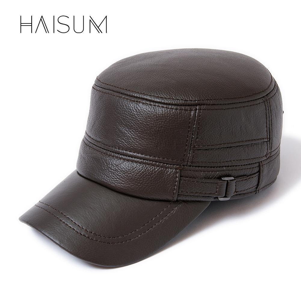 fdf3ea51cd7 2018 New Winter Men s 100% Leather Baseball Cap Men Warm Hats With Ears Flap  CS133 Flexfit Cap Ny Caps From Ancient88