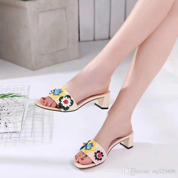 cdf5510bc304 2018 Women s Floral Slippers Female s Flip Flops Flowers Slippers ...