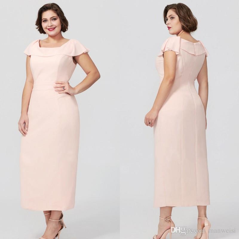 Cheap Blush Pink Sheath Mother Of The Bride Dresses Tea Length Plus ...
