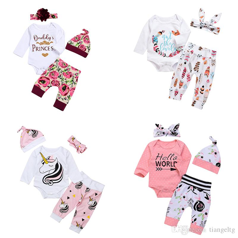 abb15fff9 2019 Baby Girls Boys Rompers Clothing Sets Long Sleeve Pants Caps ...