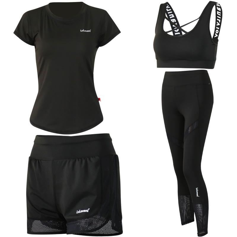 31471f796c8 2019 4 In 1 Yoga Set Fitness Women Black Yoga Bra   Shorts   T Shirts Gym  Clothes Sport Wear Training Suit Running Outdoor Jogging From Booket