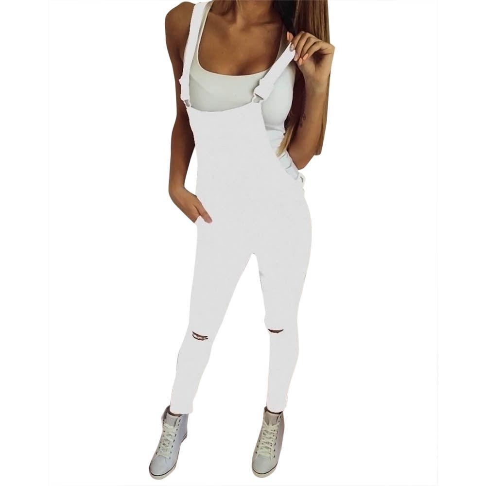 2b13071602c0f Compre Jeans Para Mujer Stretch Jeans Blanco Mujer 2018 Pantalones Flaco  Para Mujer Con Cintura Alta Denim Bib Hole Pants Pantalones Mono A  20.61  Del ...