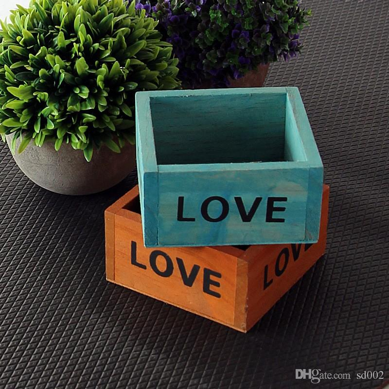 Square Mini Garden Pot English Letter Love Wooden Planters Pure Colors Flower Succulent Plants Storage Box Hot Sale 3 2hx B