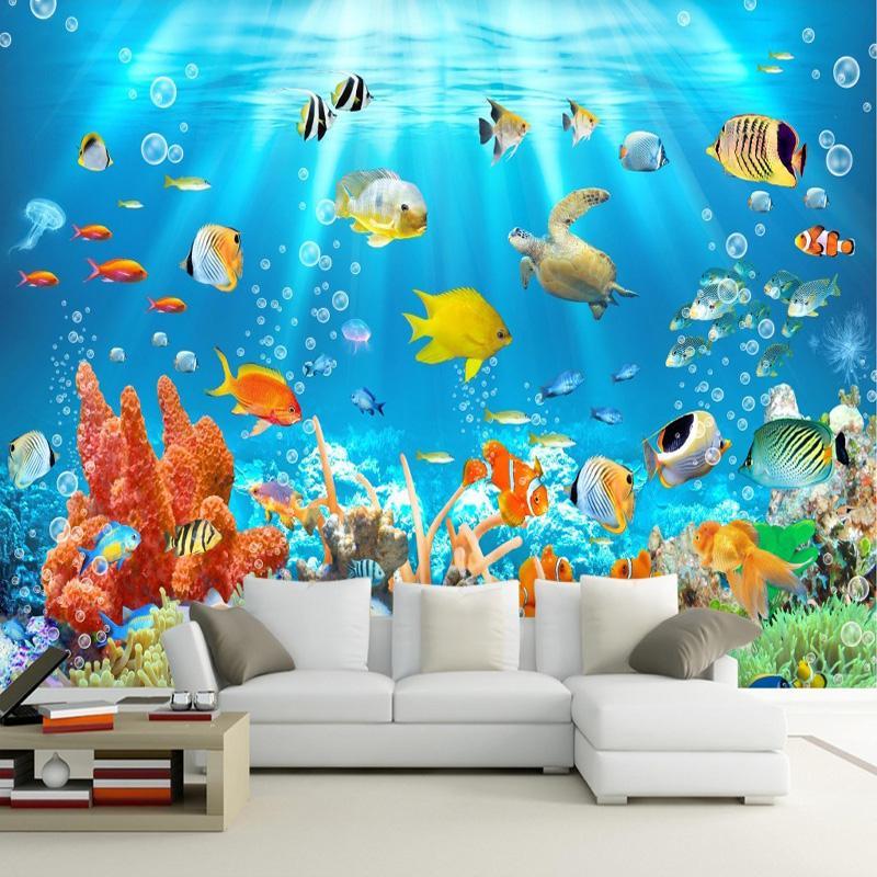 Kids Room Mural: 3D Kids Wallpaper Mural Underwater World Fish And Coral