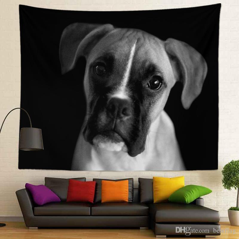 3D Hayvanlar Pet Siyah ve Beyaz Tasarım Ev Dekorasyon Sublime Baskılı Özel Boyut Bulldog Mandala 400g Duvar Asma goblen