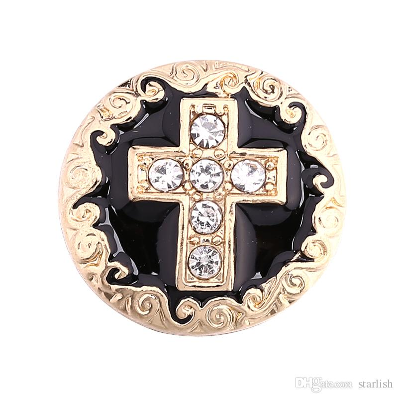 Fashion new Cheap Snap Button 18mm Noosa Gold Cross Ginger Snap Jewelry DIY Necklace Bracelet Accessory