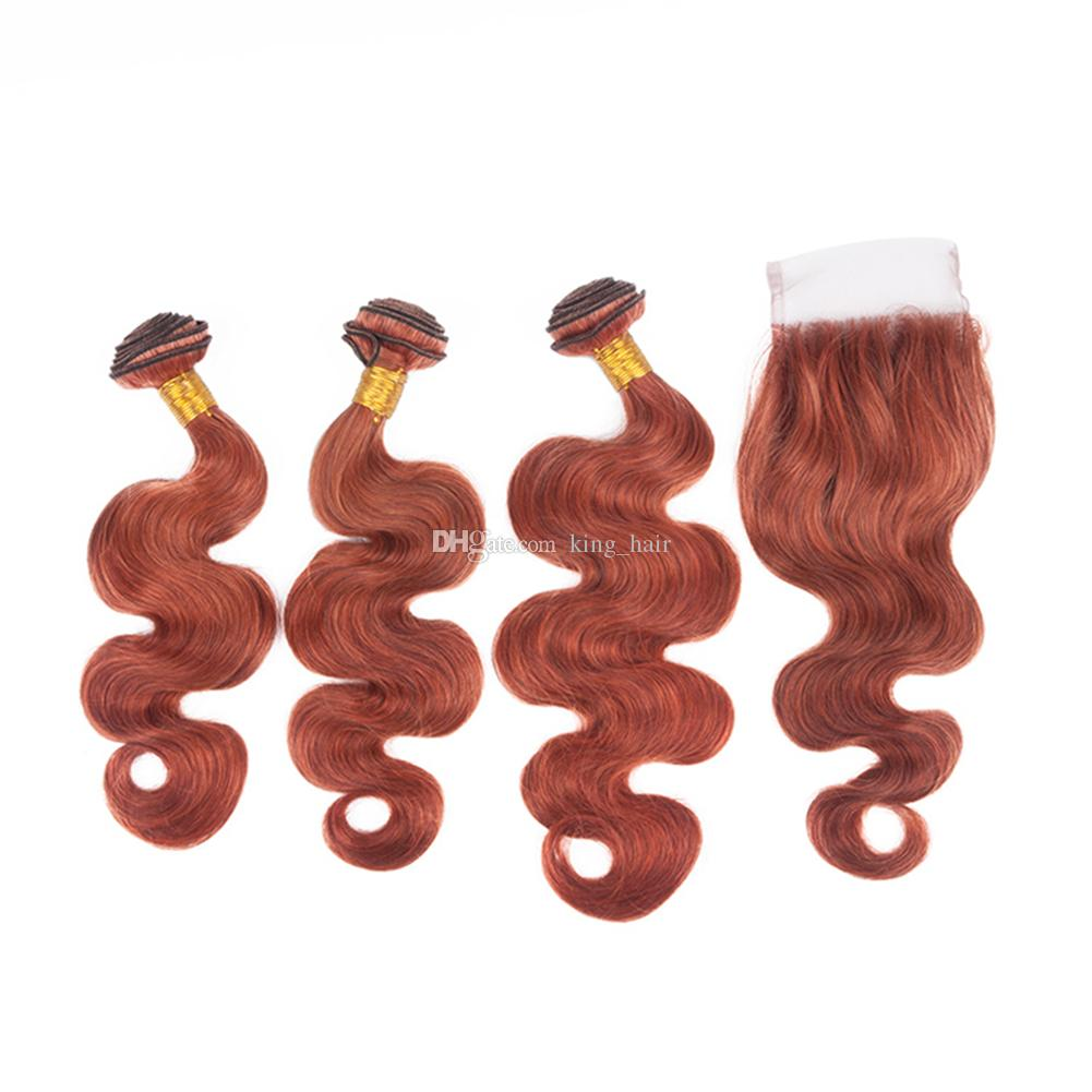 Pure Colored #33 Virgin Hair Extension With Top Closure 4x4 Free Part Dark Auburn Brown Body Wave Hair 3Bundles With Lace Closure