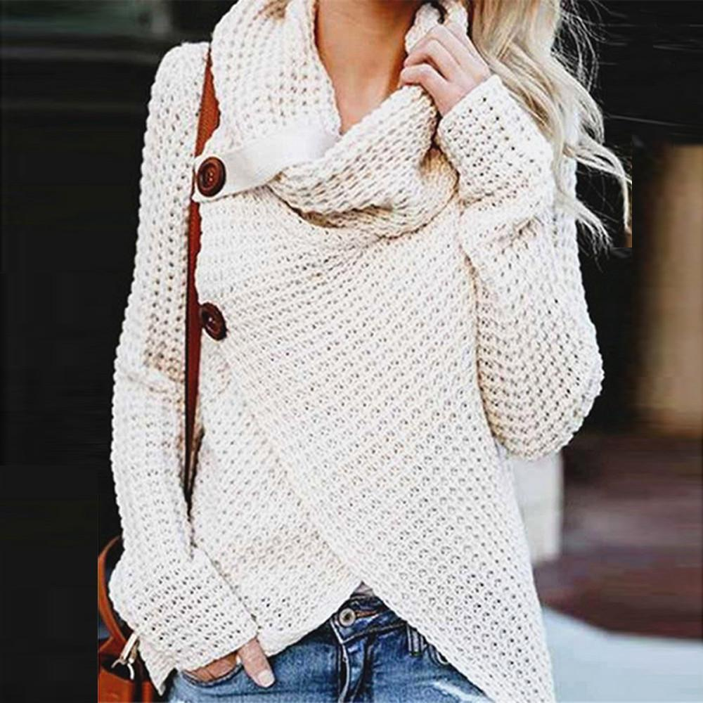 2019 Knitted Women Long Sleeve Sweaters Autumn Woman Knitting Sweaters  Irregular Button Sweater Plus Size Scarf Collar Tops 2019 From Jincaile06 05adcf440