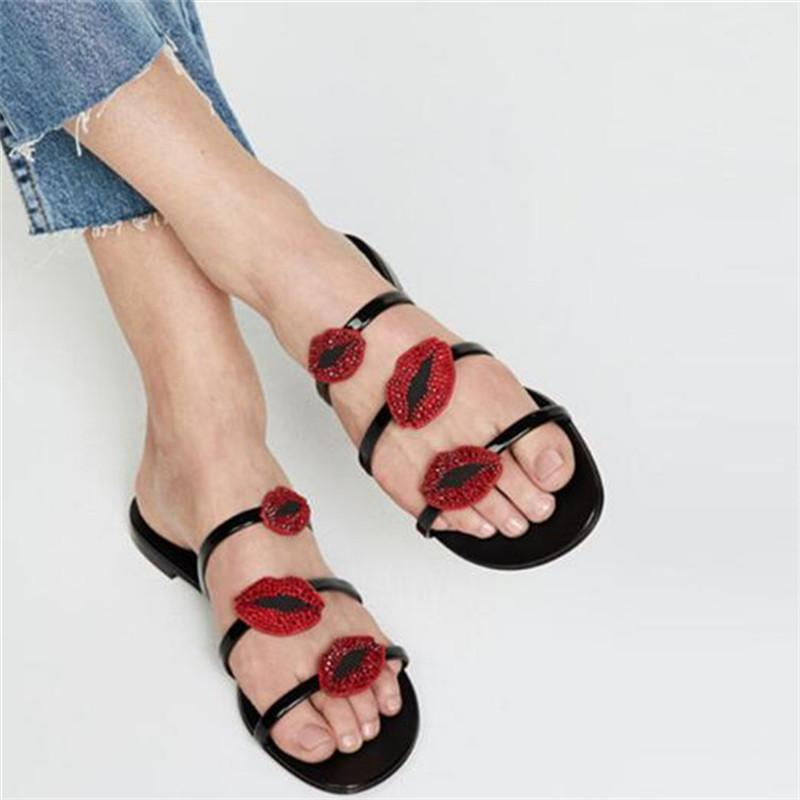 78f869a6b29 Crystal Red Lips Three Band Slipper Flats Gladiator Sandals Women Fashion  Zapato Mujer Slinky Patent Leather Summer Ladies Shoes Mens Sandals Reef  Sandals ...