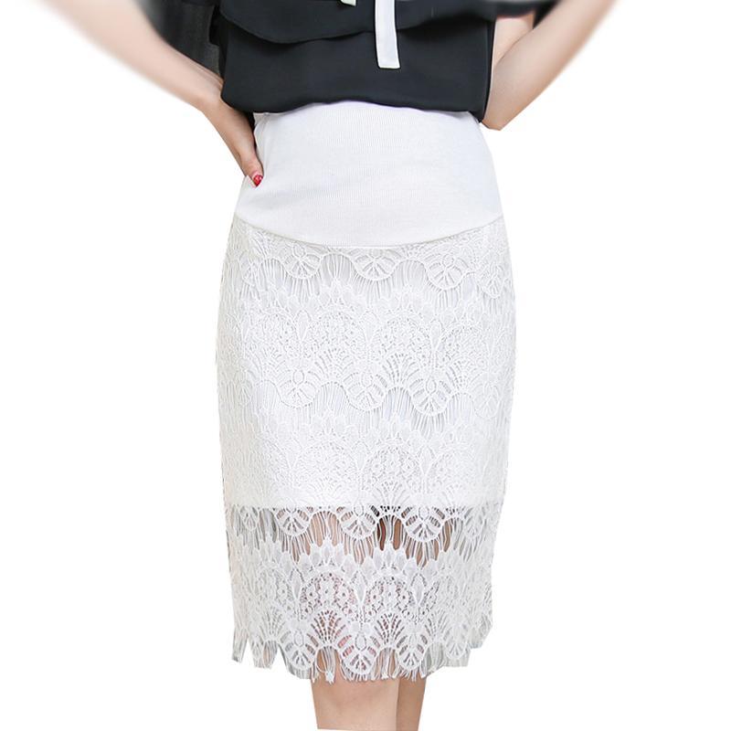583a52b6f Compre Encaje Embarazada Hip Package OL Falda Primavera Verano Classic  Solid Faldas Para El Embarazo Maternidad Elegante Cintura Alta Bottoms  Clothes A ...