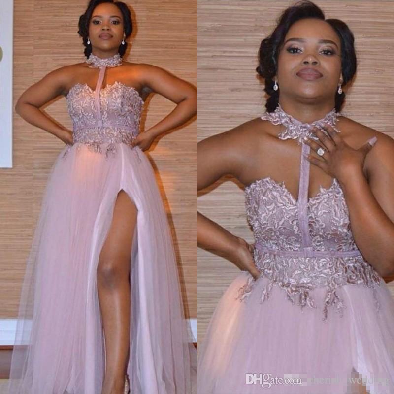 a0ab4fd17d994 Satın Al Tozlu Pembe Yüksek Boyun Gelinlik Modelleri Sevgiliye Dantel  Aplikler Yan Bölünmüş Abiye Giyim Afrika Vestidos Ucuz Onur Hizmetçi Nedime  Elbisesi, ...