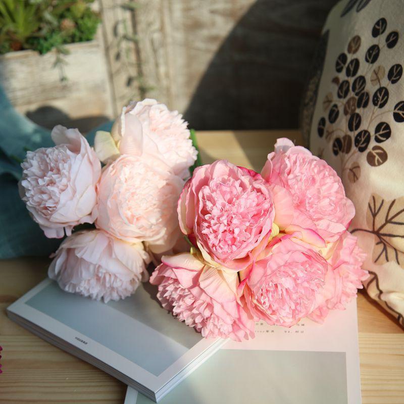 2018 Artificial Flower Peony Bridal Bouquet Fake Flower Fabric Diy ...