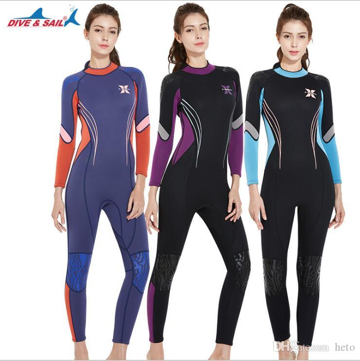 15dc424f5e DIVE   SAIL 3MM Neoprene Scuba Diving Suit Long Sleeves Women Snorkeling  Surfing Swimwear wetsuits UV Surf Sunscreen Tracksuit Rash guards