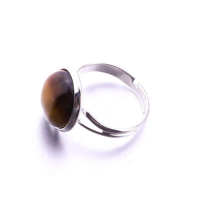الحجر الطبيعي 12MM جولة العقيق الوردي كريستال مجوهرات خاتم قابل للتعديل العلامة التجارية