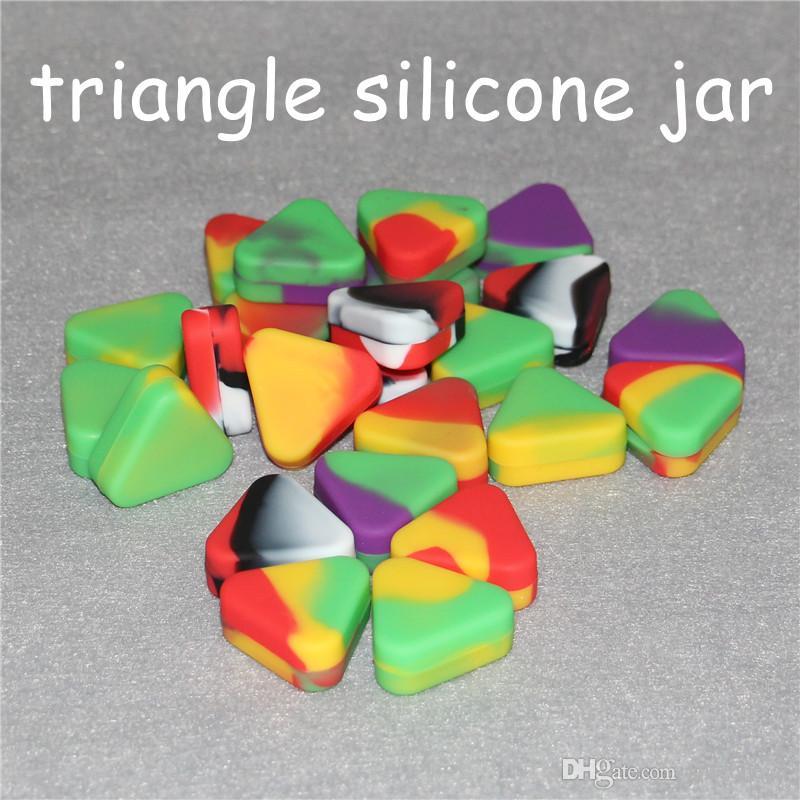 antiaderente all'ingrosso Triangle silicone cera del contenitore della scatola 1.5ml vaso triangolo silicone vasi silicone lavaggio dell'erba Wax Box Contenitore Dab